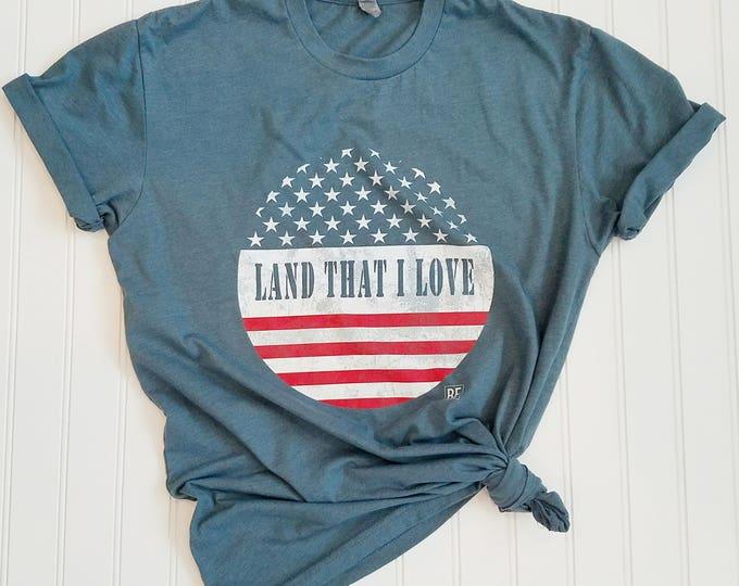 "Featured listing image: UNISEX ""Land That I Love"" Crew Neck Indigo Blue or Navy Tee, Usa Tshirt, Patriotic tshirt, Usa tee shirt, Usa tshirts, Usa shirt, USA shirts"