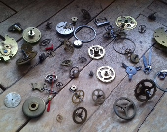 Vintage WATCH PARTS--clock gears,watch movements etc/ steampunk/ altered art/ mixed media/assemblage