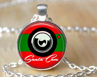 Santa Cam green and red Pendant