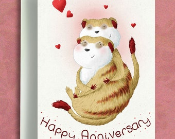 Happy Anniversary - Anniversary Card - Valentines Card - Meerkat Card