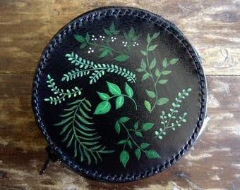 Round purse black leather - botanical grounds