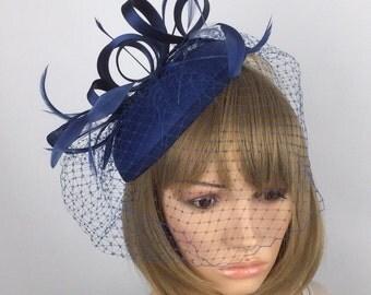 Dark Navy Blue fascinator Blue Fascinator Wedding Hatinator Pillbox Hat and net veil. Races, Weddings, Bride, Occasion, event