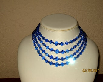 Gorgeous blue crystal beaded necklace
