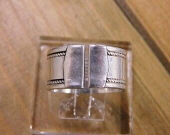 Handmade Vintage Sterling Silver Wide Band Size 8.5 925