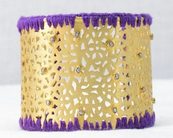 cuff bangle silver with  gold plated