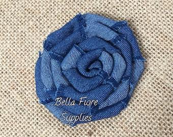 Denim Blue Rolled Rosette Flowers- Denim Headband- Denim Hair Bow- Wholesale Denim Flowers