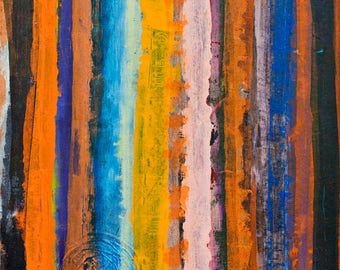"""Original Abstract Painting Acrylic on Canvas, Size 32"""" x 24"""", Title:Vertical Endings"""