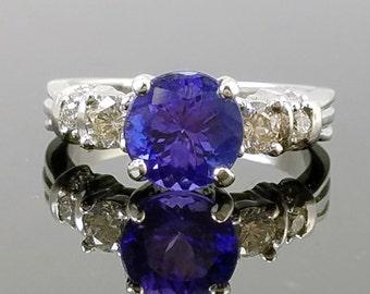 2ct. Tanzanite, Diamond & 14K White Gold Solitaire/Engagement Ring - Size 7