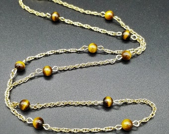 """Tigers Eye Bead & 14K Gold Filled Necklace - 16"""""""
