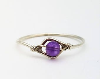 Vintage Handmade Sterling Silver Wire Wrap Ring with Amethyst Bead - Size 9.5