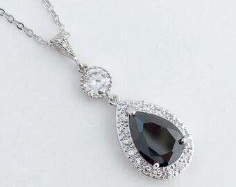Black Cubic Zirconia Bridal Necklace Black Wedding Crystal Pendant Black Crystal Wedding Jewelry Black Crystal Bridesmaid Jewelry Necklace