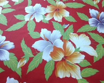 Red floral Hawaiian Fabric Multi-color Floral, Hawaiian Print, White, Tropical Flowers, Aloha Shirt Material, 100% cotton