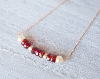 Pearl and Ruby Necklace, Ruby and Pearl Necklace, Ruby Necklace, Pearl Necklace, Rose Gold Necklace, Pearl and Ruby Jewelry, Ruby and Pearl