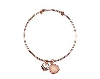 Beaten metal coin and opal stone drop charm bangle