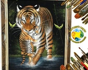 Tiger & Cub Oil Velvet Painting #OTWC