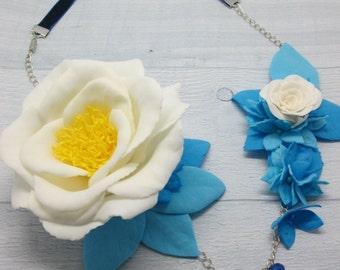Flower girl necklace Rose necklace Statement necklace Wedding necklace Blue and white necklace Gift necklace Blue flowers White blue