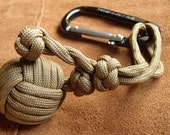 "Adjustable Tactical Paracord Monkey's Fist with 1"" steel ball bearing and carabiner"