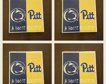Pitt Penn State House Divided Coasters- Set of 4