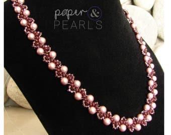 Elegant Pearl Necklace in Powder Rose