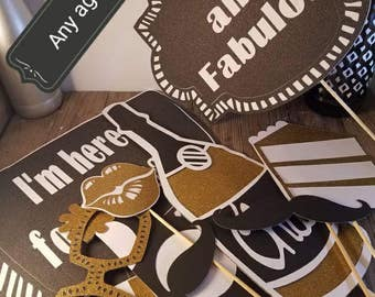 40th birthday decorations, 60th birthday, 65th birthday decorations, 50th photo booth props, Birthday photo props, 70th birthday party, phot