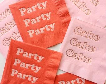 Party Foil Napkins - Tomato Blush Red Peach Paper Napkins - Birthday Party wedding shower baby shower engagement first valentine galentine's