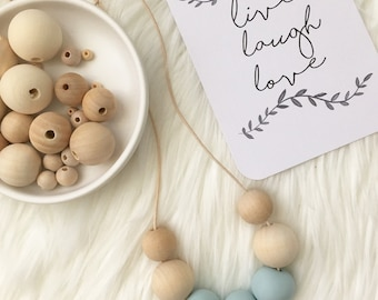 Blue polymerclay and wooden bead necklace, scandi bead necklace, pastel blue, modern necklace, blue clay beads, wooden bead, birthday gift