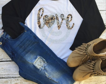 Ladies Cheetah Love Shirt White and Black Raglan