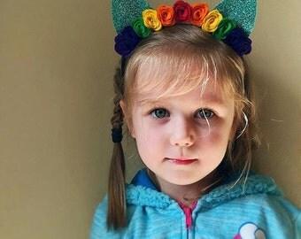 Felt Glitter Pony Ears Headband - My Little Pony Rainbow Dash - Birthday - Costume