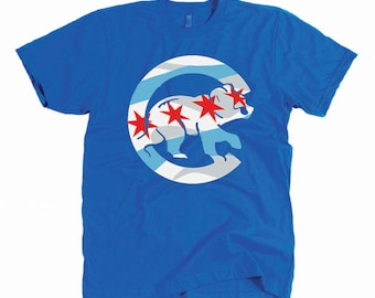 2017 Chicago Cubs Shirt - Chicago Flag Stars Tshirt - Unisex Fly the W - Baez Rizzo Bryant Lester Baseball Jersey