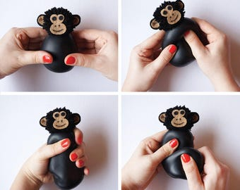 Chimpanzee, Stress ball, Monkey, Safari, Bonobo, Chimp, Animals, Fidget toy, Kids gift, Easter gift, Nursery decor, Montessori, Stuffed toy
