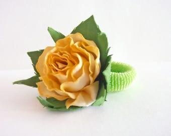 Handmade elastic hair band for hair Hair band for girl Elastic hairband Gift-for-women Rose ornament Floral ornament