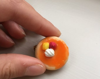 Handmade pancake pin brooch