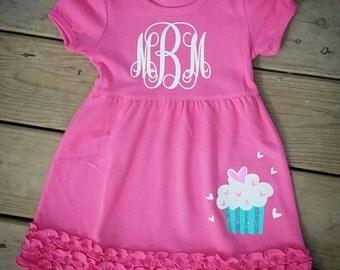 cupcake dress, valentines day dress, pink dress, pink and white monogram dress