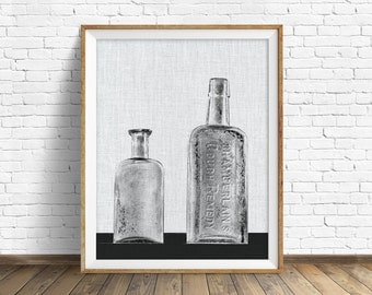 """rustic wall art, large art, printable art, instant download printable art, black and white, rustic decor, wall art - """"Chamberlain's Remedy"""""""