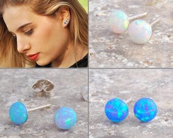 Opal Stud Earrings, Opal Earrings, Opal Stud Earrings, White Opal Stud Earrings, Blue Opal Earrings ,Stud Earrings, Opal Stud Earrings
