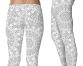 Silver Yoga Leggings. Silver Leggings. Gray and White Patterned Leggings. Mandala Art Tights. Silver Stretch Pants