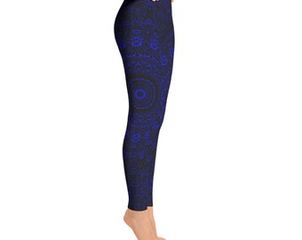 Blue Yoga Pants - Black Leggings with Blue Mandala Designs for Women, Printed Leggings, Pattern Yoga Tights