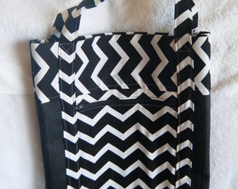 Vinyl Mesh Tote Bag, Market Bag, Beach Bag, Black Mesh with Black White Chevron, Zippered Pocket,