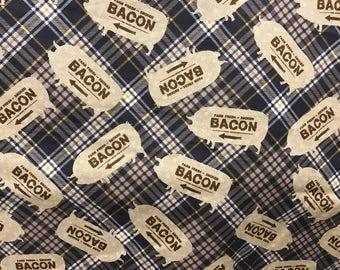 Plaid bacon fabric, pig bacon fabric, country fabric, tan fabric