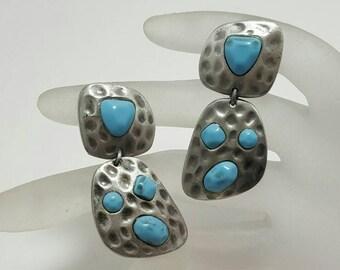 Faux Turquoise Drop Earrings