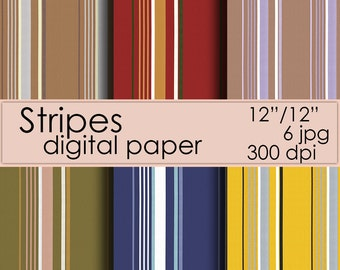 Stripes Digital paper, Instant download, Scrapbook Paper, Digital stripes background strip pattern