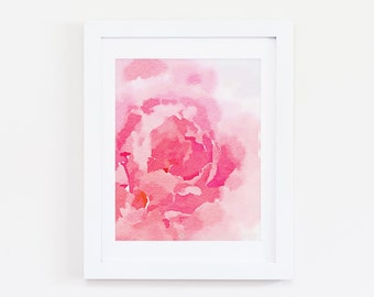 Pink Peony Three - Abstract Watercolor Art Print - Pink, Coral, Blush, Peach, Floral