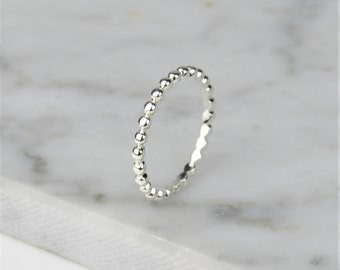 Bubble Bead Band Stacking Ring 925 Sterling Silver Jouel - Stack Band Ring