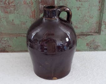 LITTLE BROWN JUG • Primitive Jug • Stoneware Jug • Crock Jug • Brown Pottery Jug • Collectible Crockery • TheWhiskeredKitten • Vintage Jug