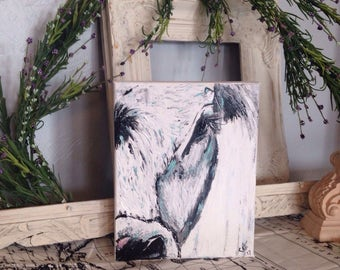 """Calf cow wall painting 8X10"""" canvas wall hanging, Calf Wall Decor, Calf wall art, rustic calf painting, cow art, cow decor, cow painting, fa"""