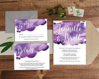 Wedding Invitation // Wedding Invite , Printable Invite, Digital Wedding Invite, Wedding Invitations,  Wedding Stationery, watercolour
