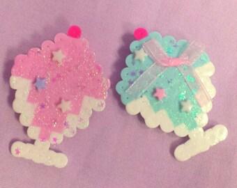 Pink OR blue ice cream sundae brooch!
