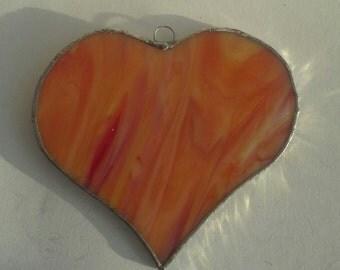 Stained glass orange yellow heart suncatcher