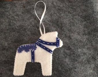 Blue and White Dala Horse Ornament