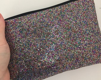 Multicoloured glitter clutch evening bag